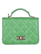 Green Stitch Detailed Leatherette Sling Bag - Senora Bags