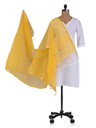 Yellow plain zari chanderi dupatta