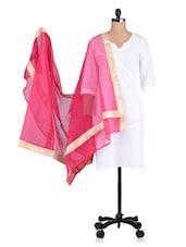 Pink Plain Zari Chanderi Dupatta - By