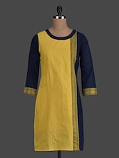 Color Block Round Neck Cotton Kurti - Titch Button