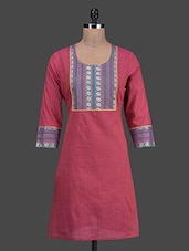 Printed Yoke Round Neck Cotton Kurti - Titch Button
