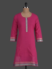 Dark Pink Round Neck Cotton Kurti - Titch Button