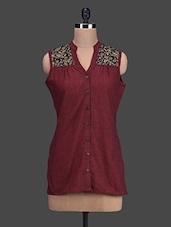Printed Yoke Sleeveless Cotton Top - Titch Button