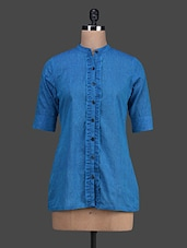 Blue Mandarin Collar Cotton Shirt - Titch Button