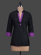 Black & Purple Cotton Short Kurta - Titch Button