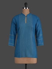 Blue Stitched Detailed Cotton Short Kurta - Titch Button