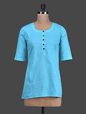 Turquoise Blue Round Neck Cotton Top - Titch Button