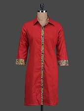 Red Shirt Collar Cotton Kurta - Titch Button