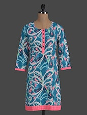 Multicolored Printed Round Neck Cotton Kurti - Titch Button