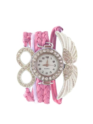 pink leatherette wrist watch