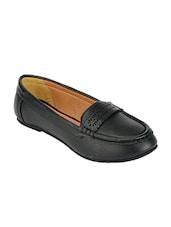 Black Color, Leatherette Slip On Loafer - By
