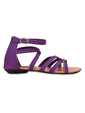 Purple Strappy Zip Closure Sandals - KZ Classics
