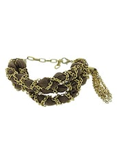 Brown Metallic Hand Worked And Acrylic Bracelet - Blend Fashion Accessories