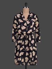 Long Sleeved Blouson Pattern Dress - Myaddiction