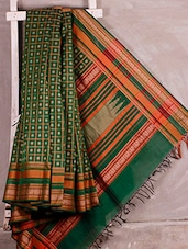 Green Kanchi Cotton Saree - Shayeri
