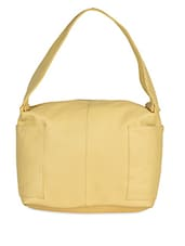 Plain Solid Yellow Leatherette Handbag - Hotberries