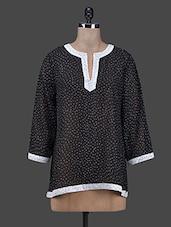 Dots Printed Black Georgette Top - RUTE