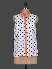 Polka Dot Printed Shirt Collar Top - Queens