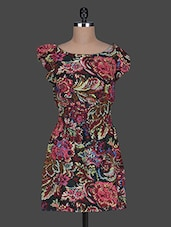 Floral Printed Boat Neck Dress - Queens