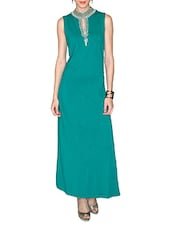 Turquoise Viscose Lycra Jersey Maxi Dress - By