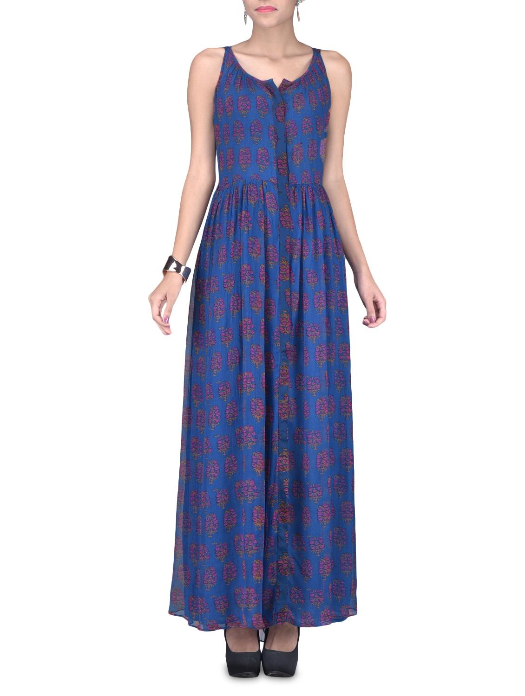 Sleeveless Blue Printed Maxi Dress - LABEL Ritu Kumar