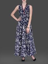 Navy Blue Floral Printed Maxi Dress - LABEL Ritu Kumar