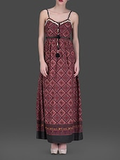 Maroon Printed Cotton Maxi Dress - LABEL Ritu Kumar