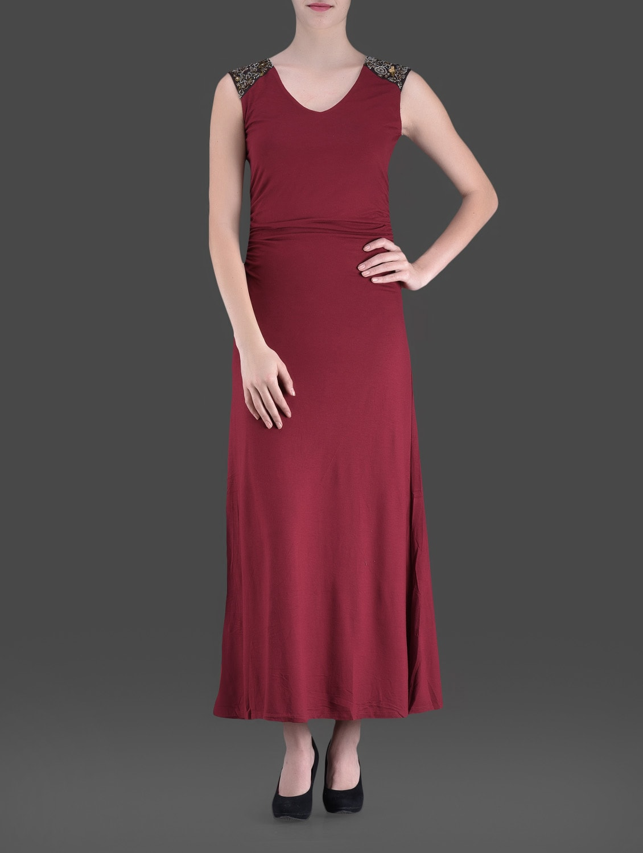 Maroon Embellished Maxi Dress - LABEL Ritu Kumar