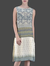 Off White Printed Mid-Length Dress - LABEL Ritu Kumar