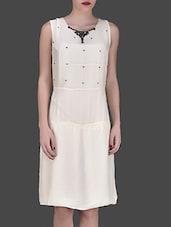 Off White Embellished Sleeveless Dress - LABEL Ritu Kumar