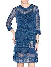 Blue Printed Viscose Chiffon Dress - LABEL Ritu Kumar