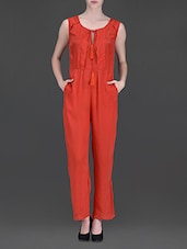 Red Sleeveless Jumpsuit - LABEL Ritu Kumar