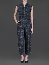 Navy Blue Floral Printed Jumpsuit - LABEL Ritu Kumar