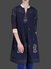 Navy Blue Cotton Embroidered Tunic - LABEL Ritu Kumar