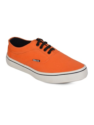 solid orange canvas sneakers