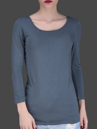 Solid grey viscose casual top