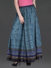 Blue Printed Cotton Maxi Skirt - LABEL Ritu Kumar