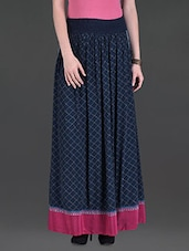 Navy Printed Crepe Maxi Skirt - LABEL Ritu Kumar