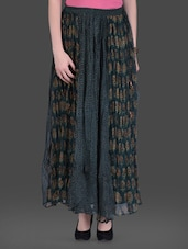 Green Printed Chiffon Panelled Maxi Skirt - LABEL Ritu Kumar
