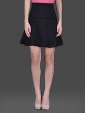 Black Flared Short Skirt - LABEL Ritu Kumar