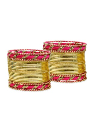 pink  color, metallic alloy bangles