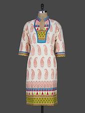 Quarter Sleeve Paisley Block Printed Cotton Kurta - Kyaara