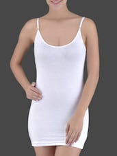White Knitted Viscose Lycra Long Camisole - Ladie Grace