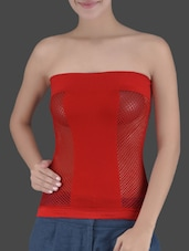 Red Knitted Viscose Lycra Tube Top - Ladie Grace