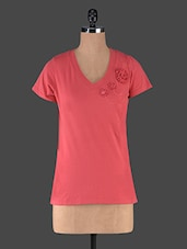 Red V-Neck T-Shirt With Floral Detailing - Muse Couture