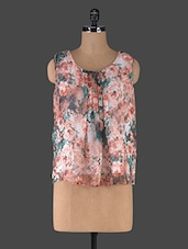 Orange Floral Printed Sleeveless Top - Muse Couture