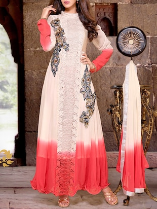 beige georgette flared suits unstitched suit