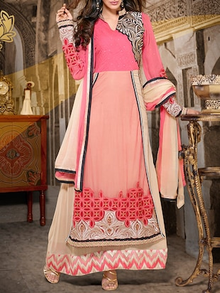 red georgette unstitched suit