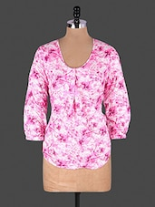 Pink Floral Printed Gathers Rayon Top - Lamora Get High In Fashion