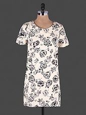 White Floral Printed Half Sleeve Polyester Tunic - Lamora Get High In Fashion